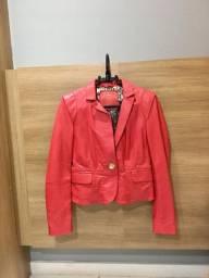 Jaqueta de couro carmim
