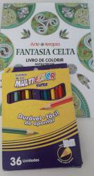 Arte terapia antiestresse + caixa com 36 lápis de cor