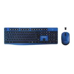 Teclado E Mouse Sem Fio 2.4GHZ Preto E Azul Multilaser TC246