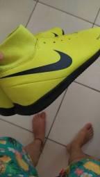 Tênis futsal Nike botinha original verde limão