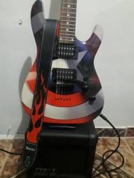 Kit completo, guitarra super strato com amp