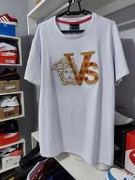 Camiseta Grife Versace Branca Malha Peruana Estampa Emborrachada