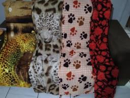 Manta casal grande floridas e tigre novas quentinhas lindas fofas