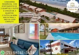 Condomínio fechado com Apartamentos e Chalés prontos, no Praia da Perola - Pé na areia