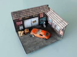 Diorama Hotwheels - Oficina / Carro Abandonado