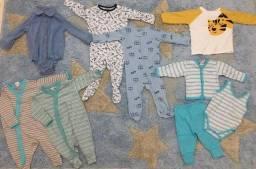 Lote com 9 peças de roupa para bebê masculino