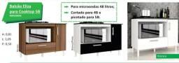 Balcão para cooktop com 1 porta, 1 gaveta e espaço para forno