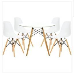 Conjunto mesa 90cm + 4 cadeira eames eiffel