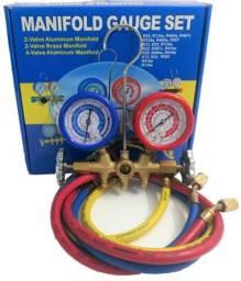 Manifold R22 R134a R404a R407c C/ 3 Mangueiras 90cm