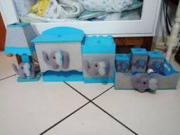 Kit higiene tema elefante Chevron azul