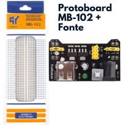 Protoboard MB-102 830 furos + Fonte Ajustável para Protoboard MB102 3.3V 5V