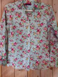 Camisa feminina social manga floral