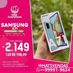 Samsung Galaxy A71 - LACRADO ( 128GB, 6GB RAM, DUAL CHIP) AZUL CINZA (GARANTIA, COM NF )