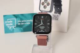 Smartwatch DTX Rosê Pulseira de Metal Com Tela Infinita Full Touch