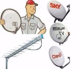 Instalação de antenas e serviços em elétrica residencial.