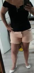 Blusa preta de lacinho marron