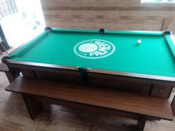 Mesa Charme Redinha Cor Imbuia Tecido Verde Logo Palmeiras Mod. IWIS7126