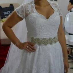 Vestido de noiva modelo princesa 2 em 1, tamanho P/M