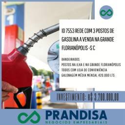 7553 Rede com 3 postos de gasolina a venda na Grande Florianópolis - SC
