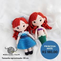 Ariel Sereia e Humana - Pequena Sereia - Boneca de Crochê