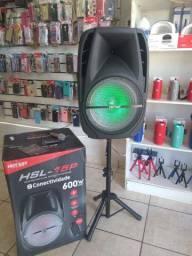 Caixa de som amplificada bluetooth, microfone e controle