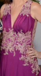 Vestido longo festa bordado