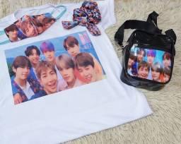 Kit BTS Camisa + Máscara +Scruchies +Bolsa