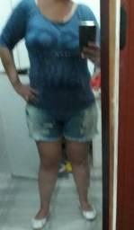 Blusa simples azul estampada