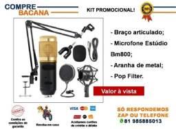 Estúdio - Braço articulado + Microfone Bm800 + Aranha de metal + Pop filter