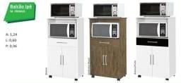 Balcão com 1 gavetas, 2 portas, rodinhas e suporte pra forno e micro-ondas