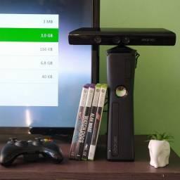 Xbox 360 bloqueado + kinect + HD 360GB + jogos + bully