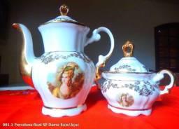 Porcelana Real Bule e Açucareiro