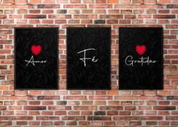Placas decorativas trio amor, fé, gratidão 20x28