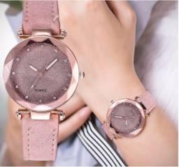 Relógio Rosa Pulseira de Couro