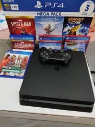 Playstation 4 de 1 terabyte + controle e 5 jogos