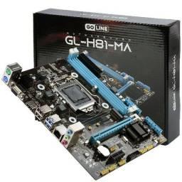 PLACA MÃE LGA 1150, GOLINE H81 GL-H81-MA, para intel de 4a geração, SLOT DDR3