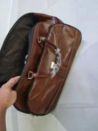 Mala de viagem de couro haimashi com rodinha