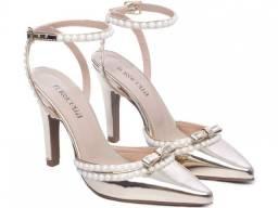 Sapato Scarpin Salto Fino Metalizado Speechio Ouro Ligh Mod.67000D