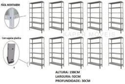 10 Prateleiras de Aço prof. 30cm c / 06 bandejas c / reforço ( nova )