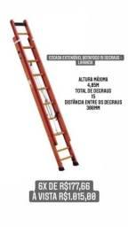 Escada Extensível Prática 15 Degraus Tipo D em Fibra 2,90 x 4,72 Metros - BOTAFOGO