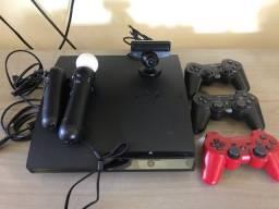 PlayStation 3 com 5 controles e câmera