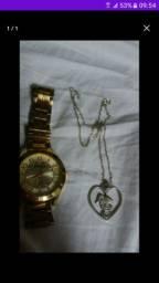 Relógio original e cordão prata