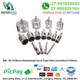 606 - Kit 15 Broca Diamantada Serra Copo Vidro ceramica 6 A 50mm