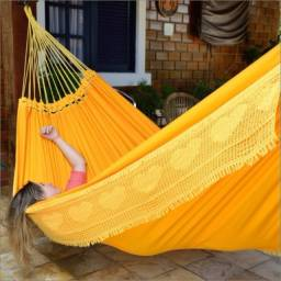 Rede de dormir Sol a Sol casal 100% algodao brim, anti-alergica, nao solta pelo
