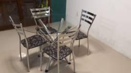 Mesa Redonda De Vidro 4 Cadeiras