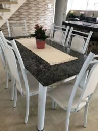 Mesa 6 cadeiras com tampo de granito