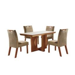 Conjunto Mesa Frisa Sala de Jantar Com 4 cadeiras Castanho Premium Tampo Off White