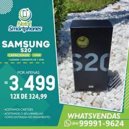 SAMSUNG GALAXY S20 DUAL CHIP COM 128GB ( TODAS AS CORES, CÂMERAS TRIPLAS +NF ) LACRADO
