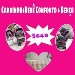 Berço +Carrinho +bebe bebe conforto