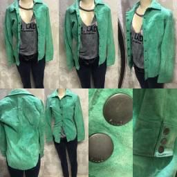 Jaqueta couro nobuck, verde, Ellus, fashion, tamanho 38, linda